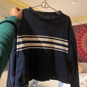 Hollister Cropped White Striped Long Sleeve